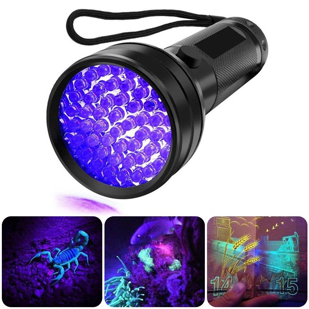 UV Flashlight 51 LEDs 395nm Ultraviolet Torch Light Lamp  Ultra Violet Blacklight Detector For Pet Smudge Bed Bug New