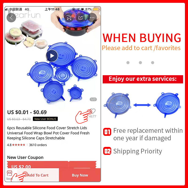 6pcs//Set Reusable Blue Silicone Food Covers Stretch Bowl Wraps Lids Universal 01