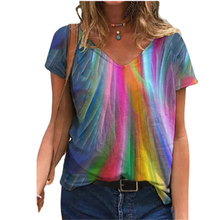 S-5XL Hot Women Oversized Printed T Shirt Tops Summer 2021 Casual Loose T-shirts V-Neck Short Sleeve Tees Ladies Streetwear Top