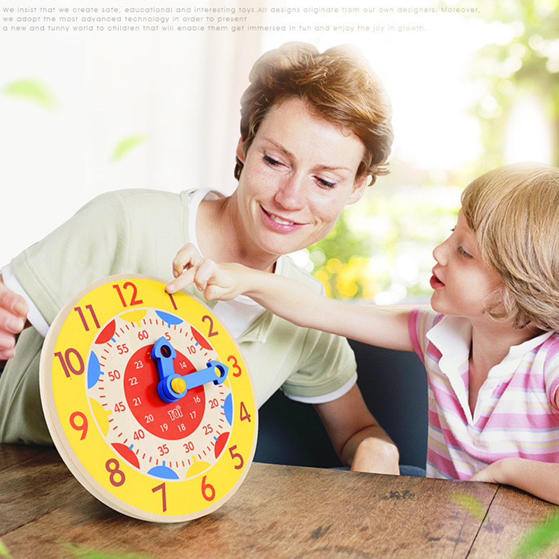 Montessori Wooden Clock Educational Toys For Children Hour Minute Second Time Cognition Early Preschool Teaching Aids Toys Gift