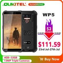 OUKITEL WP5 5.5 8000mAh IP68 Impermeabile Smartphone 4GB 32GB Quad Core Triple Telecamere Android 9.0 Cellulare telefono 5V/2A