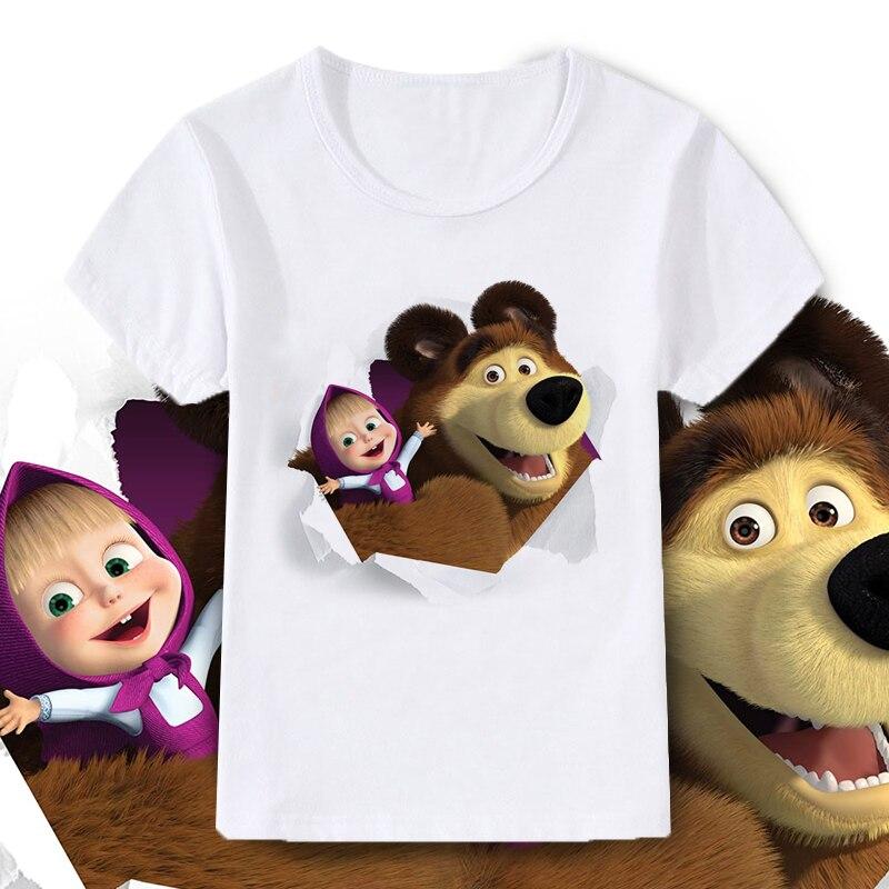 Summer fashion unisex Masha and bear T-shirt children's girls short-sleeved white tee baby cotton tops Kids clothes 3 8 years 1