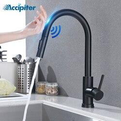 Grifo de cocina con sensor táctil, grifo de cocina con ducha extraíble, grifería De inducción inteligente De acero inoxidabl, grifo para lavabo, giratorio 360°, color negro