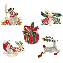 New Fashion Personality Christmas Series Brooch Pin Alloy High Quality Elk Snowman Colorful Gift