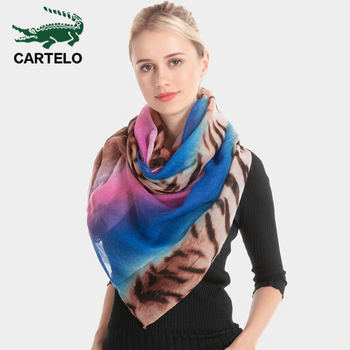CARTELO New scarf cotton ladies scarf tiger pattern sexy gradient shawl female leopard rainbow warm scarf female rose bush pattern gossamer scarf