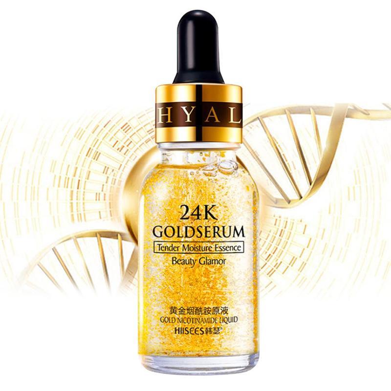 Hyaluronic Acid 24k Gold Sreum Anti Wrinkle Aging Moisturizing Whitening Soothing Face Firm Repair Care 15ml