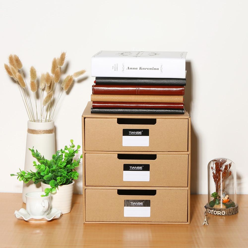TIANSE Multi-layer Kraft Paper Desktop Storage Box For DIY File Document Storage Drawer Jewelry Cosmetic Organizer Cabinet