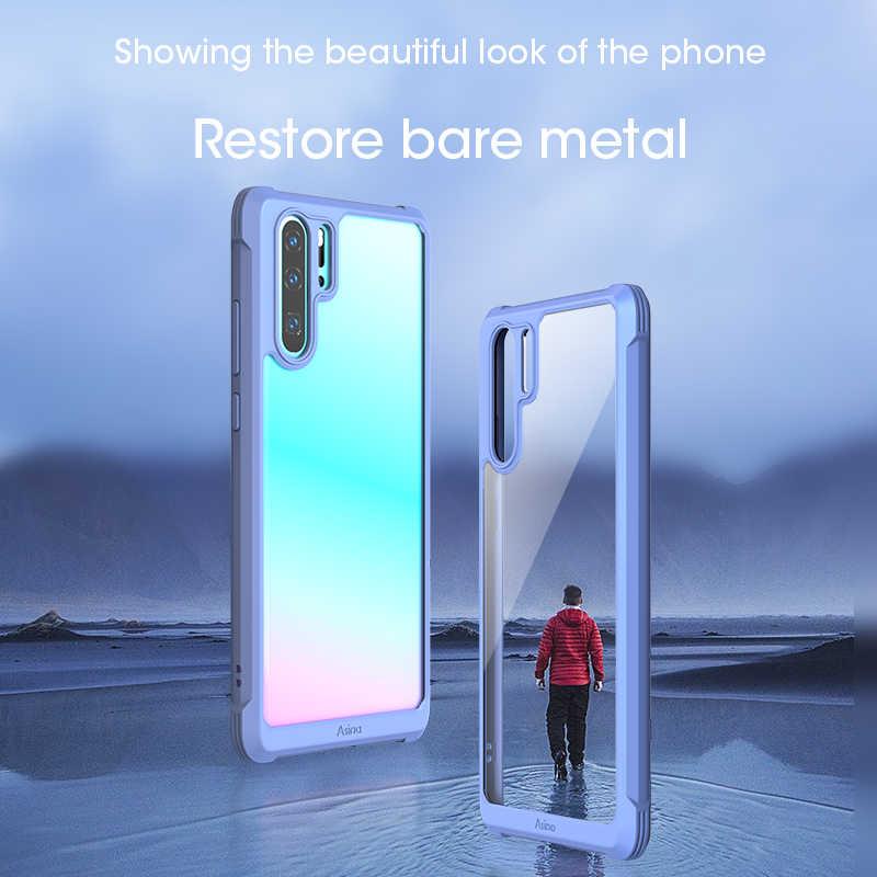 Asina amortecedor caso para huawei p30 pro silicone de luxo à prova choque transparente caso do telefone para huawei companheiro 20 pro p30 coque capa