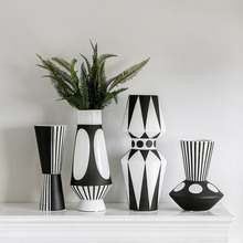 Nordic creative black and white ceramic vase abstract style flower arrangement flower retro classic home craft