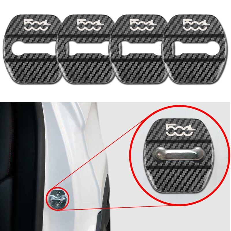 4pcs New Auto Car Carbon Fiber Pattern Door Lock Cover Case For Fiat 500L Car Accessories
