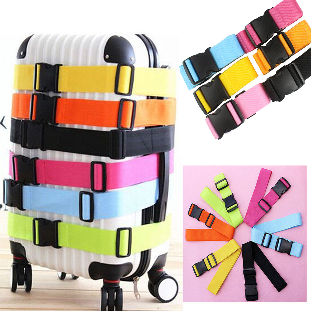 Luggage Safe Straps Lock Traveling Packing Belt Adjustable Suitcase Luggage Straps Travel Buckle Baggage Tie Down Belt Lock