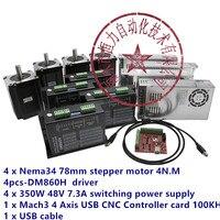 4 Axis Controller Kit 4N Shaft 14mm Nema 34 78mm Stepper Motor Driver DM860H+ Power 350W 48V CNC Milling kit