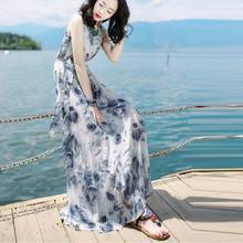 Plus Size Women Fashion Summer Bandage Mid-Calf Sleeveless Beach Printing Dress