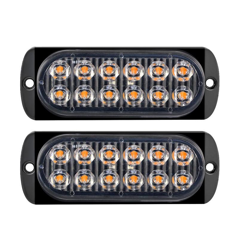 12 LED Flash Strobe Emergency Warning Light For Car Auto Truck SUV Motorcycle Side Strobe Warning Flashing Light 12V-24V 36W