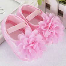 Newborn Toddler Kid Baby Girl Crib Shoes Chiffon Flower Elastic Band Newborn Walking Shoes Summer Baby Shoes Baby schoentjes(China)