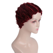 WTB Short Curly Wigs for Black Women Female Synthetic Wig Finger Curly Wig Cosplay Short Wigs for Women Overwatch Cosplay Red 6 anime diy cosplay wig death note kirito uchiha sasuke male black short curly wig show