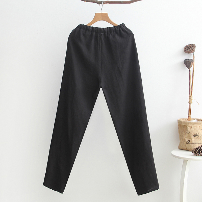 Trousers Men Cotton Linen Long Pants Male Chinese Kung Fu Trousers Men's Full Length Casual Straight Clothing Elastic Waist