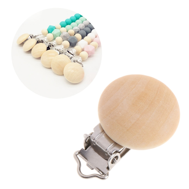 Natural Color Baby Pacifier Clips Round Wood Metal Soother Dummy Nipples Holders