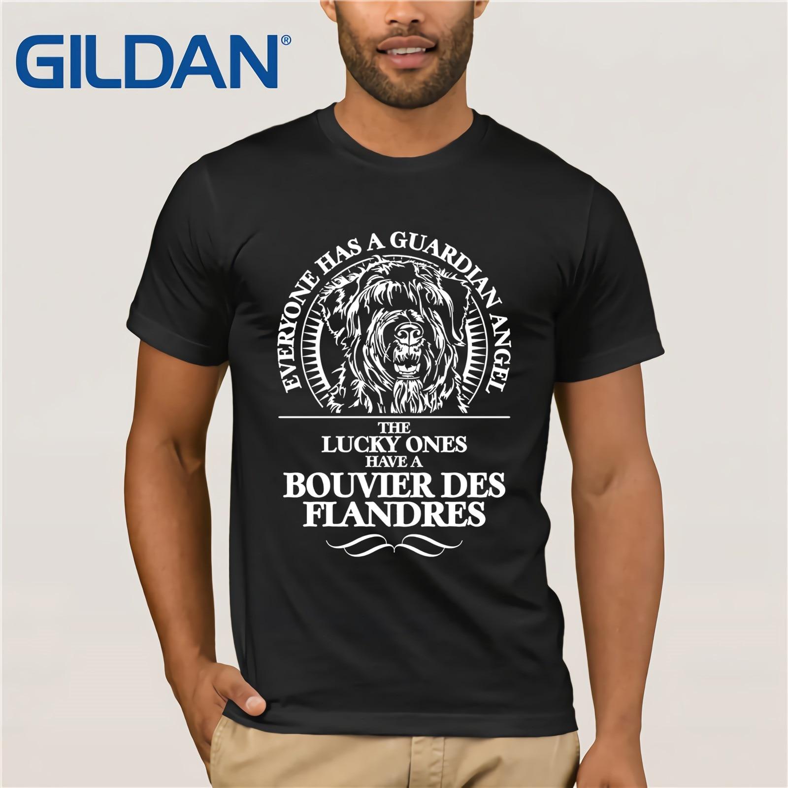 BOUVIER DES FLANDRES gardien ange chien TEE Shirt été mode homme T-Shirt manches courtes