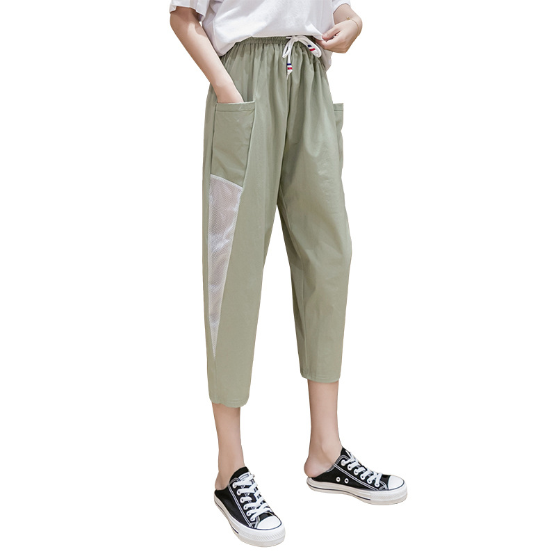 Summer Waist Leggings Capris Fashion Crops Female Hot Sale Cropped trousers quick-drying ice trousers loose elastic sweatpants