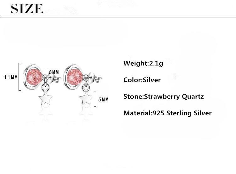 High Quality Fashion Pink Crystal 925 Sterling Silver Lady Stud Earrings Promotion Jewelry Women Wedding Gift No Fade in Stud Earrings from Jewelry Accessories