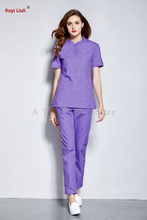 Medical clothing 100% cotton surgical scrub set doctor nurse long sleeve uniform dental clinic pet beauty salon overalls-