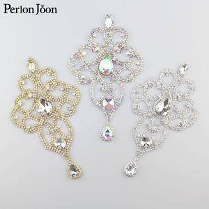 3.82*7.64 inch AB color crystal applique Rhinestone Epaulet used in shoulder for the wedding dress Clothing Accessories YH Z002