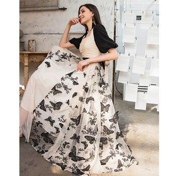 YIGELILA Women Vintage Long Dress Elegant Square Collar Lantern Sleeve Mesh Embroidery Dress Empire Slim Big Hem Dress 65825 мобильный телефон nokia 130 ds