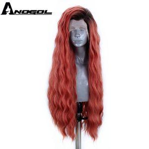 Image 3 - ANOGOL platine Blonde 613 cuivre rose synthétique dentelle avant perruque avec bébé cheveux longue vague deau haute température Futura Fiber perruque