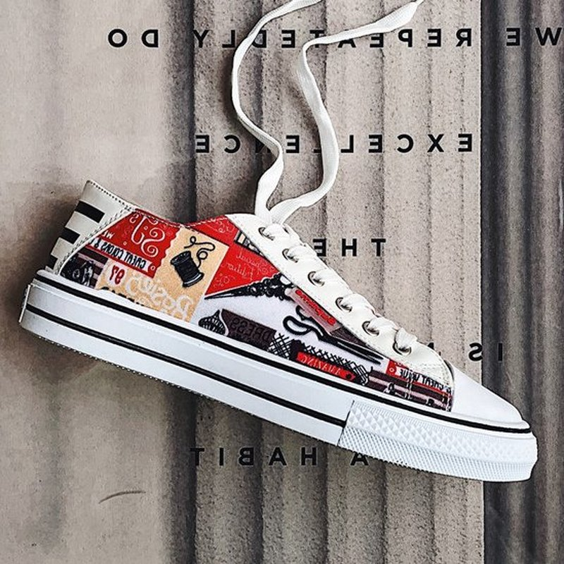 Graffiti Students Lovers <font><b>Shoes</b></font> Recreational <font><b>Skateboard</b></font> <font><b>Shoes</b></font> for Men and Women Classic Casual Sneakers Old Skool Tenis Masculino image