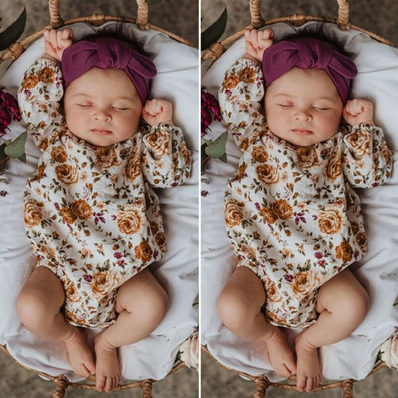 2PCS Newborn Baby Girl Spring Clothes Flower Romper Jumpsuit Headband Outfit Set