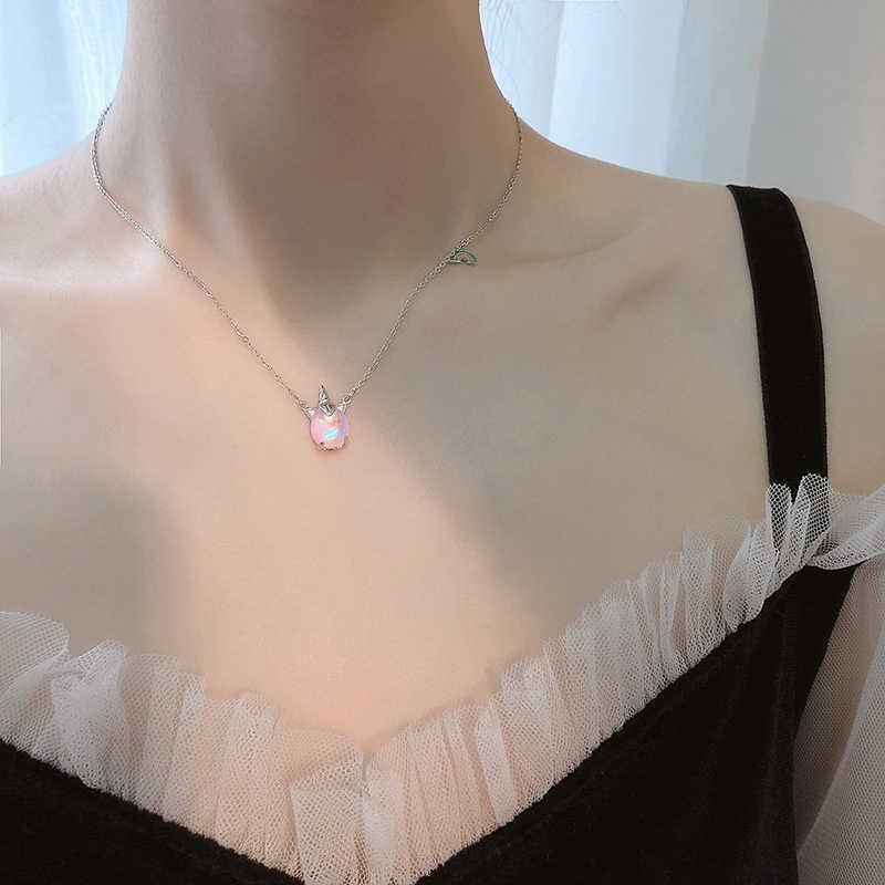 Joyería de moda plata Arco Iris unicornio colgante collar 925 Cadena de piedra lunar de la suerte Collar para chica mujer regalo de cumpleaños