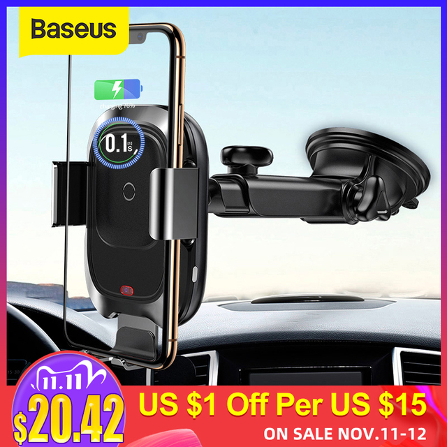 Baseus Draadloze Oplader Auto Telefoon Houder Voor Iphone Xs Max Xr Snelle Draadloze Opladen Voor Samsung Note9 S9 Auto Houder lader
