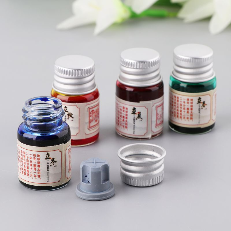 5ml Gold Powder Colored Ink Fountain Dip Pen Calligraphy Writing Painting Graffiti Stationery Office Supplies