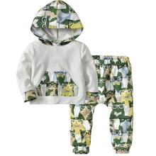 Fashion 2Pcs/Set Kid Boy Sets Cute Cartoon Glasses Owl Print Hoodie Pants Outfit Autumn Winter