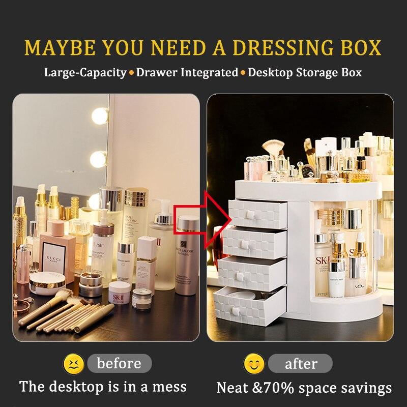 Desktop Cosmetic Storage Box Lipsticks Makeup Brush Drawer Makeup Organizer Dressing Table Skin Care Rack House Container NEW