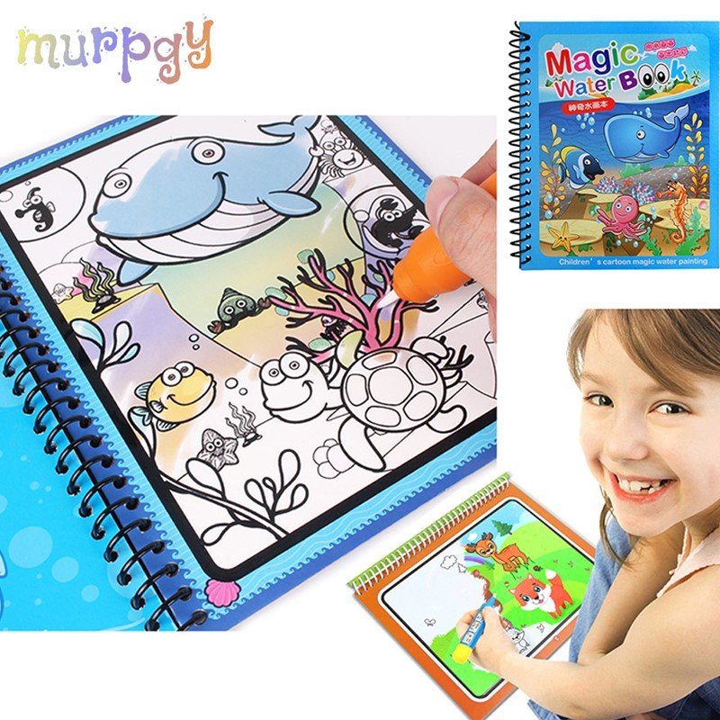 1Set Magic Water Drawing Book Painting Coloring Book Montessori Doodle With Water Pen Scratch Art Crafts Board For Kids Toys