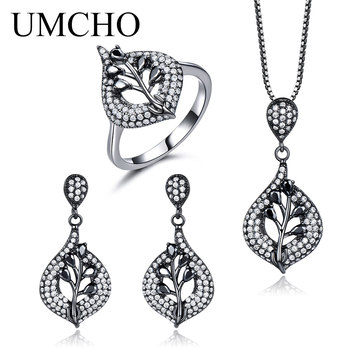 UMCHO Water Drop Black Spinel Gemstone Jewelry Set 925 Sterling Silver Earrings Rings Necklaces For Women Trendy Gift With Chain