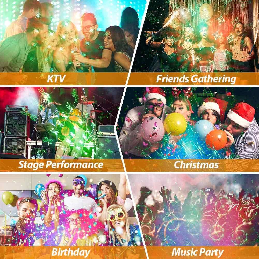 DJ לייזר שלב אור RG 60 דפוס מיני מקרן USB שלב אפקט תאורת דיסקו אור מסיבת חג המולד בר אורות חג