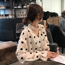 Vintage Women Blouse Jacquard Ruffles Loose Autumn Chiffon V-Neck Long Sleeve Temperament Polka Dot Loose Versatile Blouse