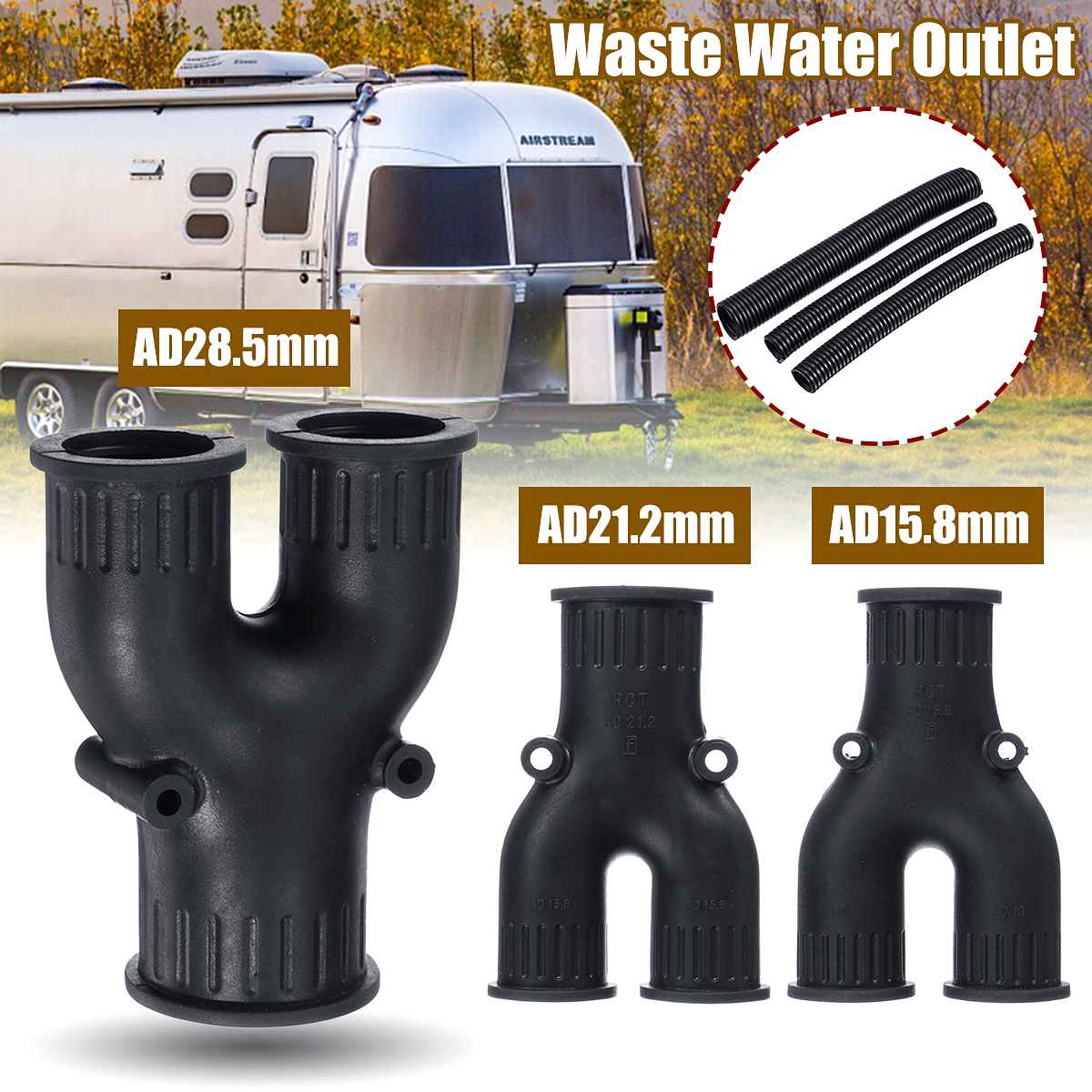 4Pcs Waste Water Outlet Hose Motorhome Caravan Car Accessories Water Drain Pipe Connector Kitchen Basin Pipe Hose Connector Set