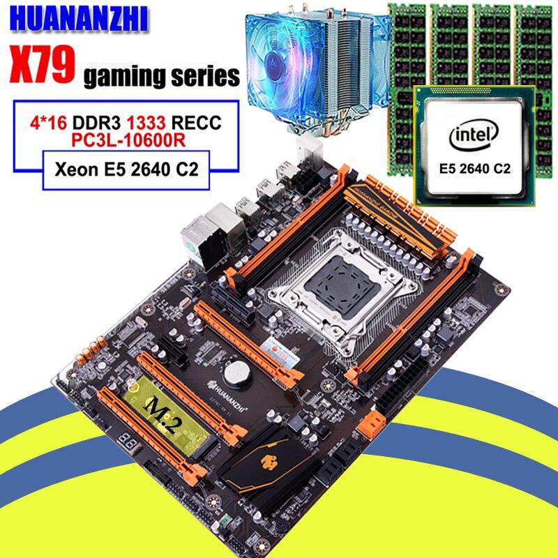 Assemblage informatique bricolage marque HUANANZHI X79 carte mère avec M.2 slot discount carte mère avec CPU Xeon E5 2640 RAM 64G (4*16G)