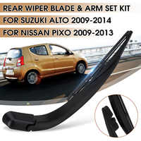 2x bras et lame d'essuie-glace de fenêtre de pare-brise arrière de voiture pour Suzuki Alto 2009-2014 pour Nissan Pixo 2009 2010-2013