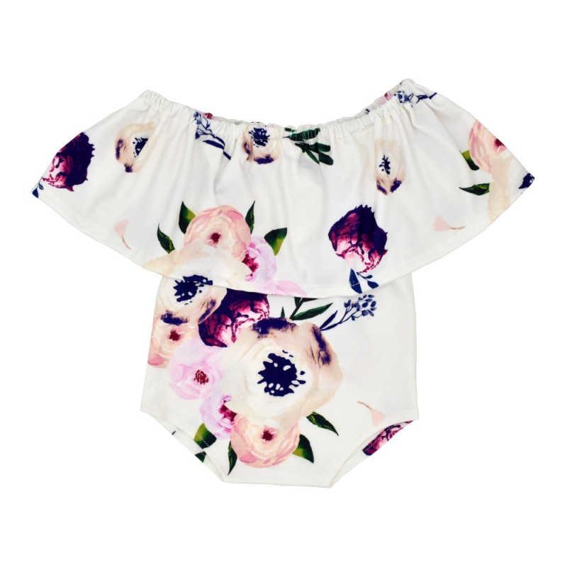 Baumwolle Baby Druck Blume Bodys Kopfschmuck Set Foto Fotografie Prop Outfit Newborn Weiche Baby Kleidung Dropshipping