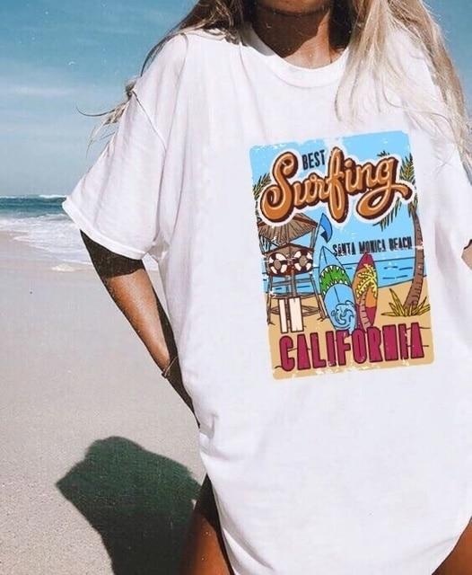 1pcs WHITE Tees Summer Casual Oversized Tee Best Surfing Santa Monica California Womens Retro Style T-Shirt Vacation Beach Shirt 3
