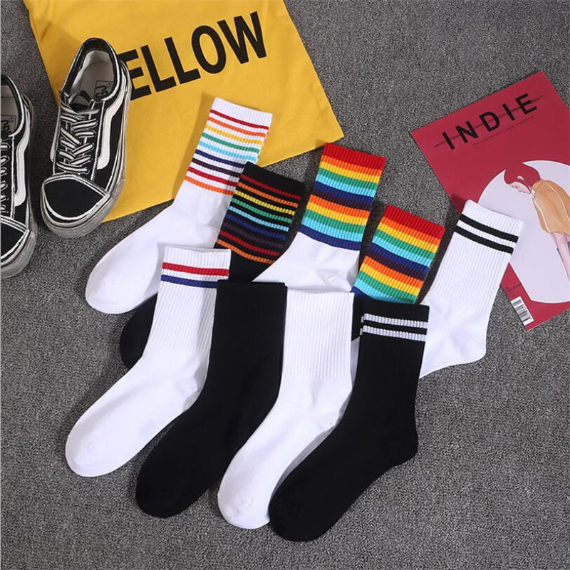 1 Pair Combed Cotton Rainbow Socks Socks Female Autumn Candy Color Tube Tide Net Red Striped Street Long Socks