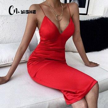 CNYISHE Elegant Satin Dresses for Women Solid Red Black Midi Dress 2020 Fashion Winter V-neck Ladies Christmas Dress Party Night 1