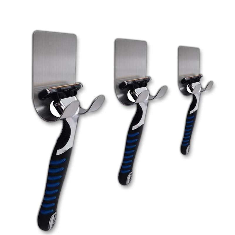 3pcs Multi-function Razor Holder Bathroom Accessories Shaver Holder Multihanger Stainless Steel Adhesive Hook Home Decoration