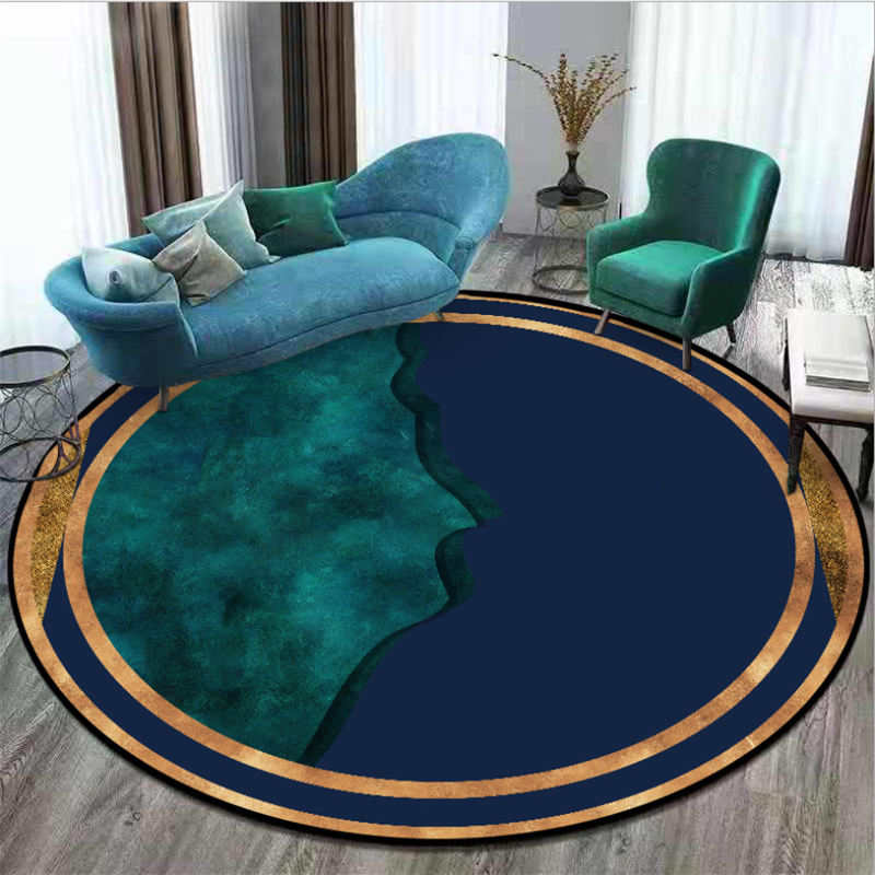 Area Rug For Living Room Dark Blue Dark Green Mosaic Pattern Round Carpet Area Rug For Bedroom Christmas Rug 100% Polyester