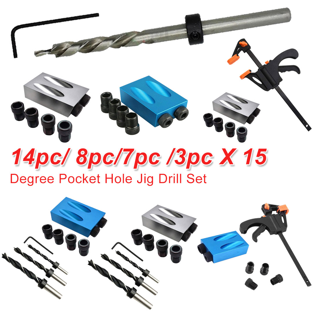 Hole Locator 14pc/ 8pc/7pc /3pc Angle Drilling Holes Guide Dowel Jig Wood Tool 6mm 8mm 10mm Drive Adapter For Woodworking